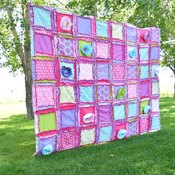 Rag Quilt Patterns For Twin Bed : Items similar to Girl Bedding Twin Size Quilt - Pink / Turquoise/ Lime / Purple- Twin Bed Girl ...