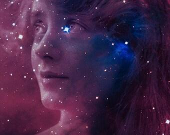 "Stargazer - 11"" x 14"" Romantic Space Themed Fantasy Fine Art Print by Kenneth Rougeau"