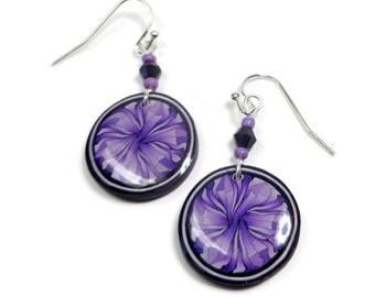 Purple Dangle Earrings- polymer clay jewelry- Statement Earrings- Hoop Earrings- Black Crystal Earrings- Ready to Ship