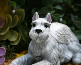 Schnauzer Dog Angel Statue With Cropped Ears - Pet Memorial - Urn Companion - Garden Decor