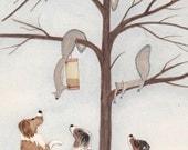 Australian shepherds (aussies) find treeful of squirrels / Lynch signed folk art print