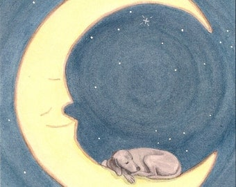 Weimaraner takes a nap on the moon / Lynch signed folk art print