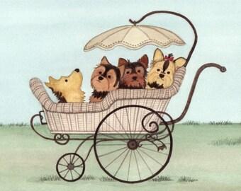 Yorkshire terriers (yorkies) ride in old-school stroller / Lynch folk art print