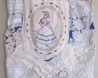VINTAGE FRENCH LINENS + Fabric Patchwork Collage Clothing Wearable Folk  Art + Altered Couture Embroidery Textile Applique Doily Antique