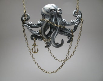 Chained Silver Octopus Necklace - Polymer Clay Jewlery - Anchor Pendant