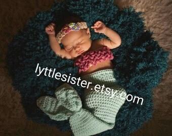 Newborn Mermaid Outfit,Newborn Mermaid Tail, Newborn mermaid blanket