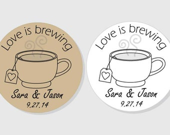Love is Brewing Personalized Bridal Wedding Shower Stickers - kraft or white matte - 1.5 inch - 2 inch - 2.5 inch - 3 inch - envelope seal