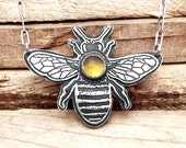 Bee necklace in silver and Citrine, sterling silver honey bee jewelry, Citrine necklace, honeybee necklace, insect jewelry, natural history