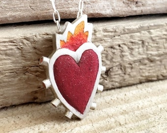 Flaming heart necklace silver and concrete, burning heart necklace, concrete jewelry, sacred heart necklace, gift for her, girlfriend gift