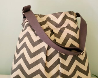 Grey and White chevron Diaper bag/ Beach bag/ messenger bag with adjustable strap