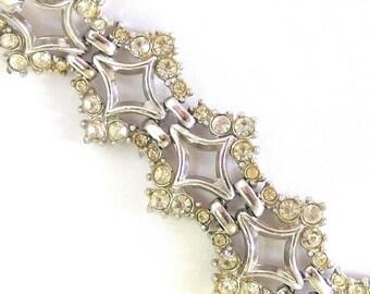 Vintage Art Deco Rhinestone Bracelet, Diamond Shape