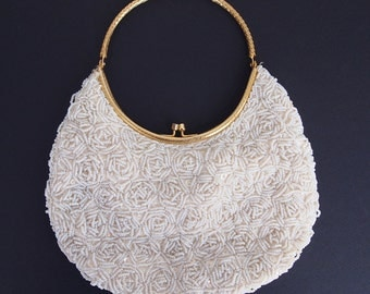 60s White Beaded Evening Bag with Round Golden Handle