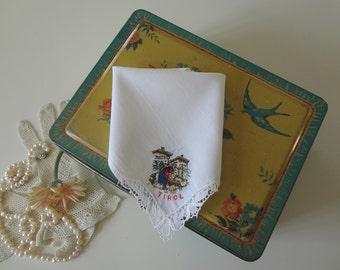 Country Cottage Handkerchief Austria Garden Chalet Tirol Vintage Wedding Hand Embroidered Hankie - EnglishPreserves