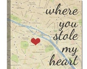 best gifts for spouse Where you stole my heart custom map art, Personalized Couple, Wedding Anniversary Gift with Quote Art Unique Gift Idea