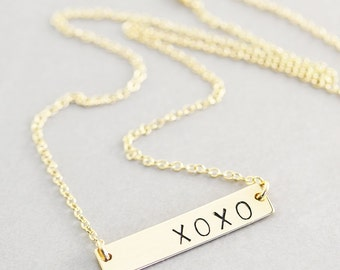 Gold Bar Necklace, Personalized Jewelry, Gold Filled Bar, Love Jewelry, XOXO