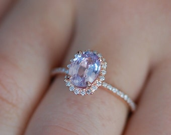 Mauve Sapphire Ring Rose Gold Engagement Ring 1.4ct oval 14k rose gold diamond ring. Engagement rings by Eidelprecious.