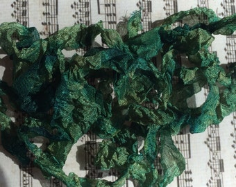Crinkle hand dyed ribbon Vintage Pine Needles seam binding crinkley stained ribbon TeamHaha Hafair OFG ADO Nooga Norga Mha Ellijay