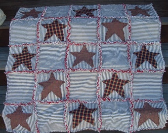 primitive blue and white ticking red rag quilt stars americana USA patriotic accent throw