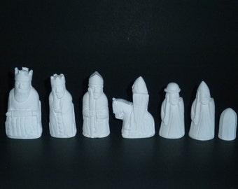 Isle of Lewis chess set Molds--set 'A' ---10 latex Molds