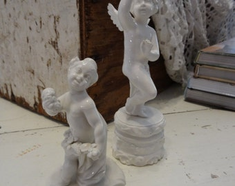 Vintage Shabby Cottage Chic Pr White Cherub Angel Figurines