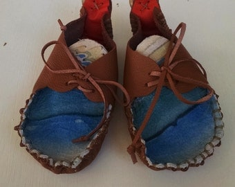 Handmade Granola Moccasins   >>Genuine Leather<<  Oceanic