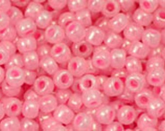 11/0 Ceylon Cotton Candy Pink Toho Glass Seed Beads 2.5 inch tube 8 grams TR-11-909