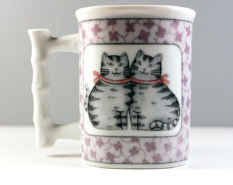 Asian kitties. Vintage 1980s cat mug.