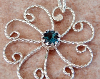 Genuine 1.5ct London Blue Topaz, Argentium Sterling Silver, Hand Wrought Flower Pendant, Cavalier Creations