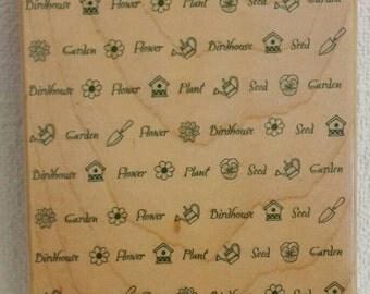 Garden Rubber Stamp Etsy