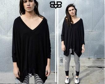 BABOOSHKA Modern Oversized Asymmetrical T-Shirt Mini Dress Modern Minimal Goth Tunic Short Sleeve  Minimalist Long T Shirt  Tunic Top Tee