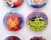 Comic Heroes with Flower Crowns Pin Set