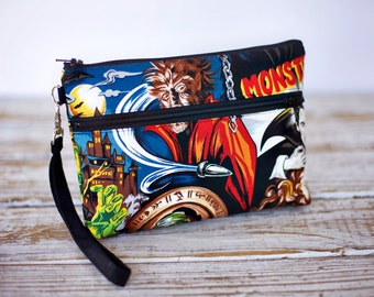Horror Movie Monsters Wristlet with removable strap - punk rock