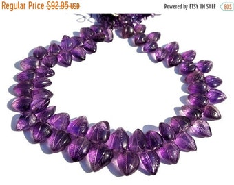 55% OFF SALE 1/2 Strand Extremely Beautiful Natural Amethyst Carved Leaf Briolettes 9x7 - 14x10mm approx