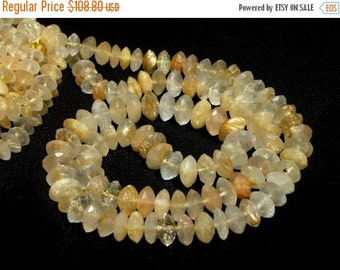 55% OFF SALE Full 16 Inches - Genuine Golden Rutilated Quartz German Cut Faceted Rondelles Size 6 - 8.5mm approx