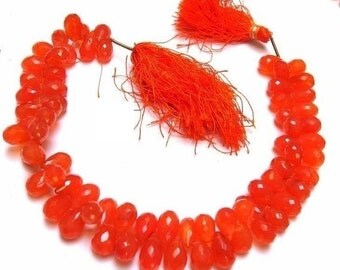 50% Off Valentine day 1/2 Strand - Finest Quality Carnelian Micro Faceted Drop Briolettes Size 9x6 to 11x7 mm Finest Quality, Natural Stone