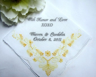 Custom Embroidered Wedding Handkerchief with floral detail