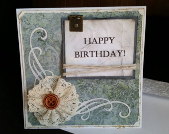 Vintage Happy Birthday Card, Shabby Chic Happy Birthday Card, Swirls Birthday Card, Handmade Paper Greeting Card, Handmade Birthday Card