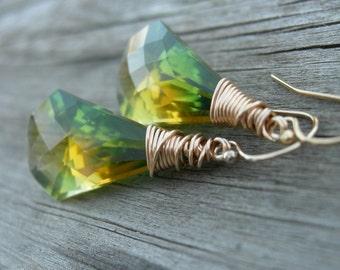 Green Yellow Ametrine Luxe Bicolor Briolette Gold Fill Earrings
