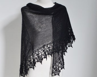Black knitted shawl with crochet lace trim, P439