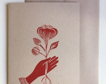 The gift. Linocut card.