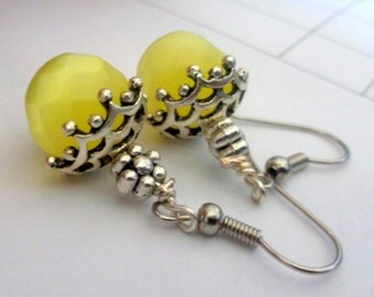 Yellow  Earrings, Moonglow Earrings, Cats Eye Earrings, Dangle Earrings Yellow Glass Earrings