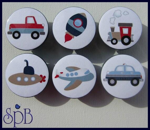 Transportation knobs airplane rocket truck train for Children s bureau knobs