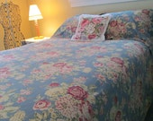 Vintage Pink Cabbage Roses on French Blue King Duvet Cover with Shams Shabby Cottage Boudoir