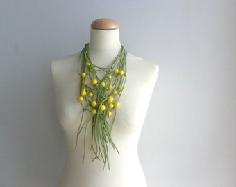 Yellow necklace with green long tassel necklace