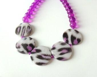 leopard necklace Purple statement necklace