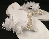 One of a Kind Pearl and Rhinestone Flower Spray White Bridal Wedding Flip Flops Size 9/10