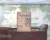 Little Boys Should Never Be Sent to Bed. They Always Wake Up A Day Older Wood Sign - Primitive Wood Sign Quote Saying Distressed Wooden S197