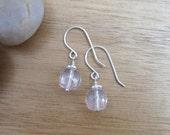 Petite Rose Quartz Earrings Dangle Earrings Faceted Cube Earrings Pale Pink Gemstone Earrings Minimalist Jewelry Minimalist Earrings