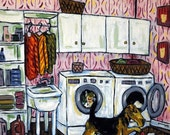 ON SALE Airedale Terrier Doing the Laundry Dog Art Tile Coaster Gift