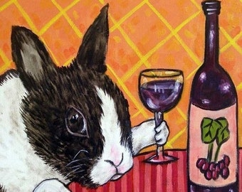 ON SALE Bunny at the Wine Bar Rabbit Art Tile Coaster